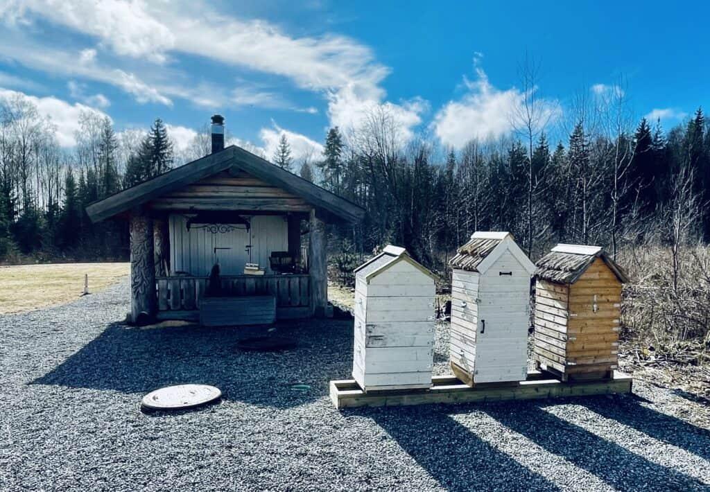 Noen av BeeFolque Kollektivets bikuber på Bøndenes Hus i Ski.